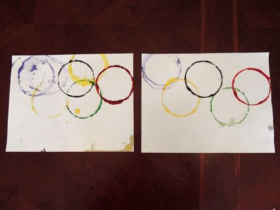 Olympic Ring Flag Stamp