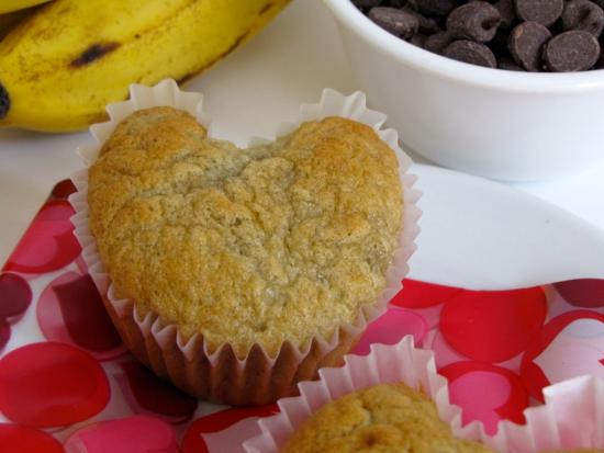 Valentine Banana Nut Chocolate Chip Muffins