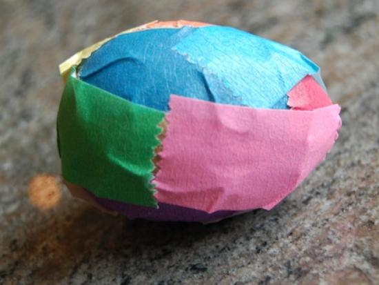 Tape + Plastic Eggs = Decorated Eggs