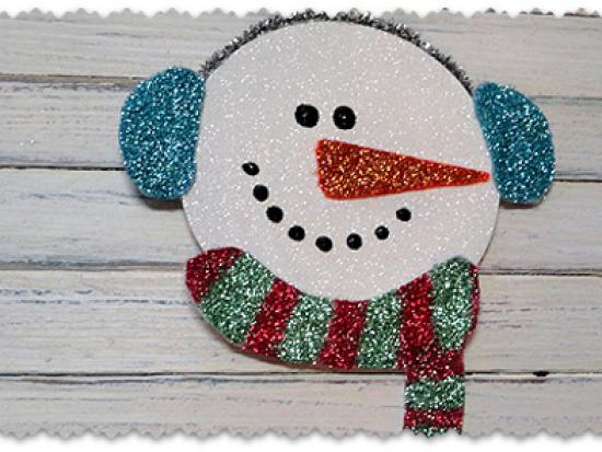 Recycled CD Glitter Snowman