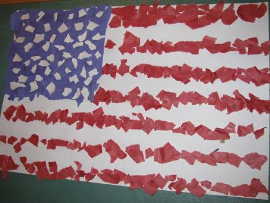 An American Mosaic: Paper Flag Collage