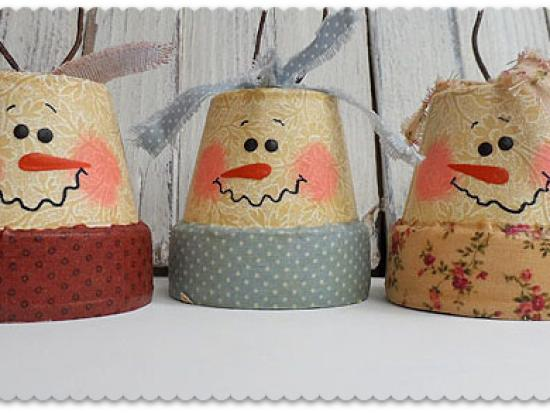 Vintage Clay Pot Snowman Ornaments