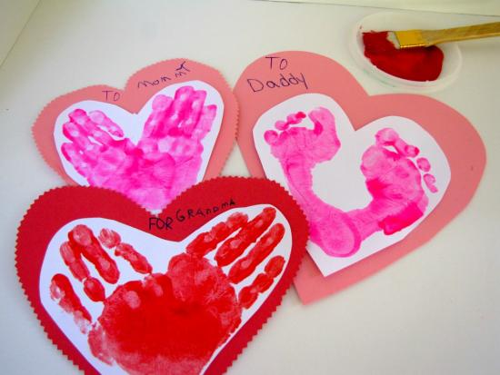 Handprint and Footprint Valentines