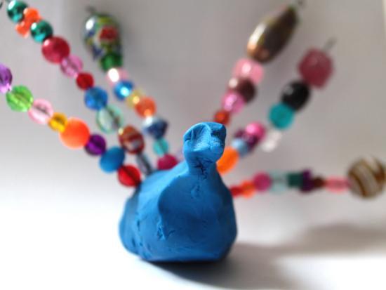Clay and Bead Peacock