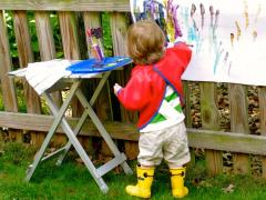 Painting on the Fence for Toddlers