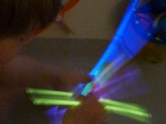 Flashlight + Glowsticks = Bathtime Fun!
