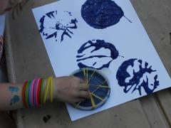 Rubber Band Paint Stamping