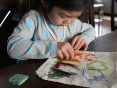 Fabric Crayon Reverse Stencil Totes