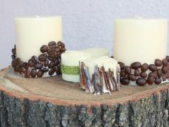 Coffee Bean-Decorated Candles