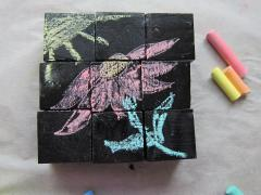 Chalkboard Painted Block Puzzle