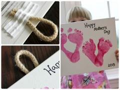 Mother's Day Footprint Hearts