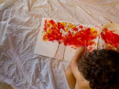 Paint + Water Bottle = Fall Leaf Painting