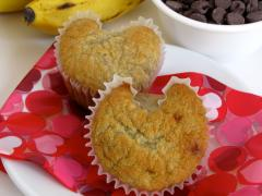 Valentine Banana Nut Chocolate Chip Muffins
